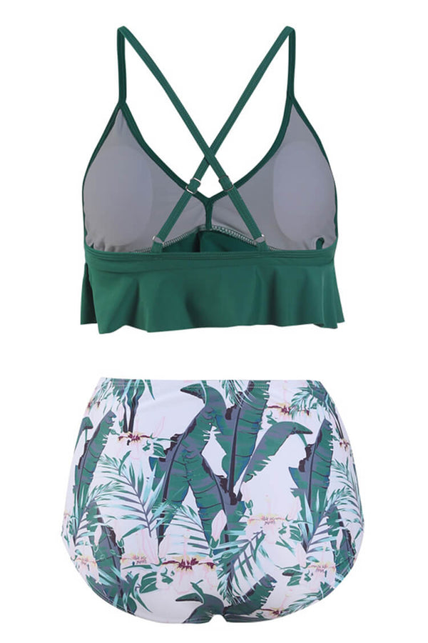 Green Floral Falbala High Waisted Bikini Set