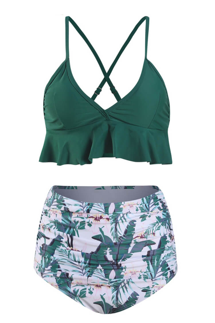 Green And Floral Ruffled High Waist Bikini swimsuits for women