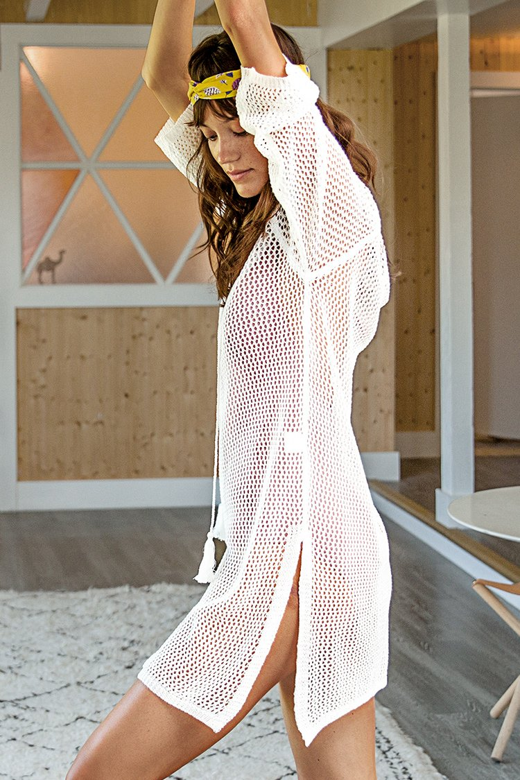White Crochet V-Neck Tassel Cover Up