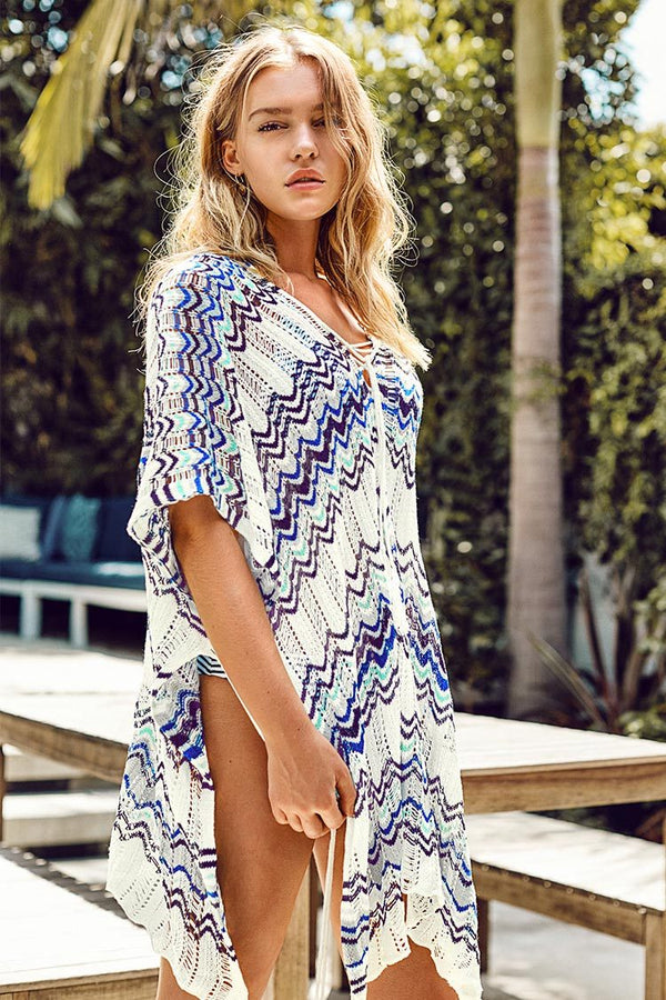 Wave Print Cover Up With Tassels