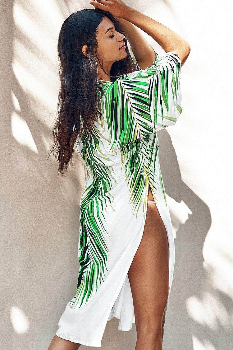 Tropical Palm Print Cover Up