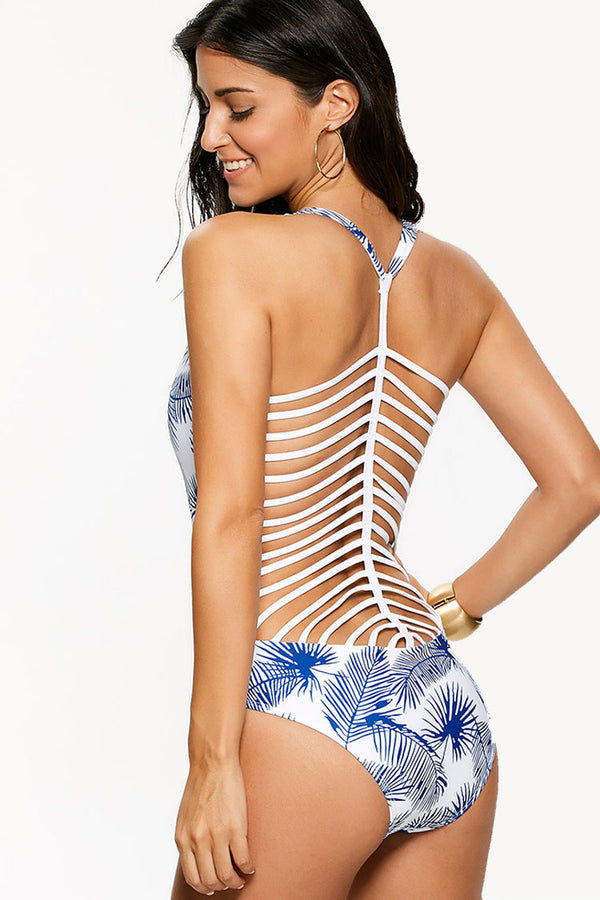 White And Blue Print Strappy One Piece Swimsuit