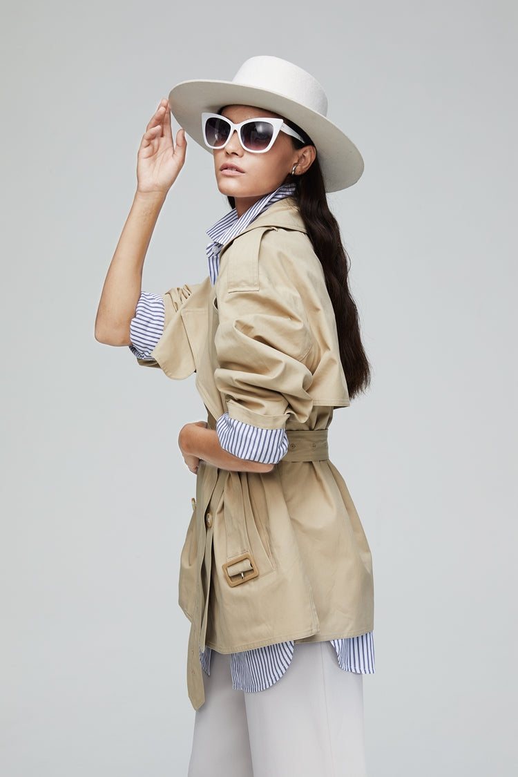 Simple Short Trench Coat