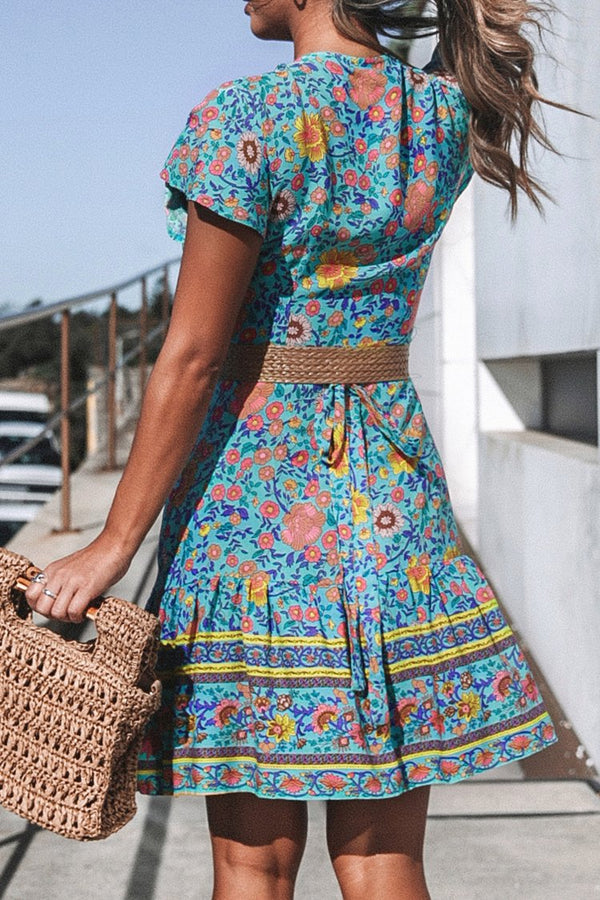 Blue Floral Printed V-Neck Dress