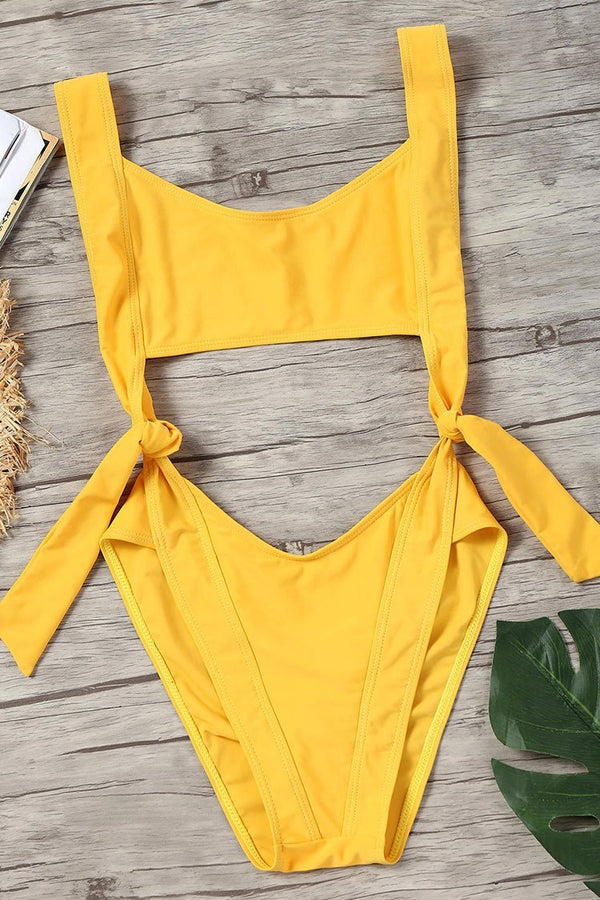 Yellow Cut-out Knot Sexy One Piece Swimsuit