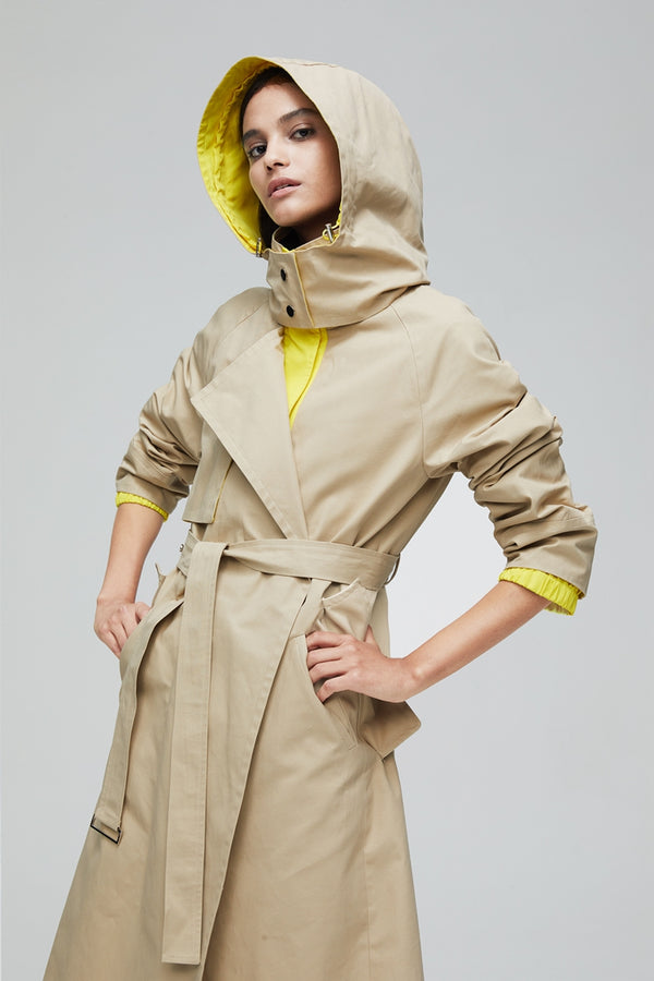 Big Hat Color Blocking Long Length Trench Coat