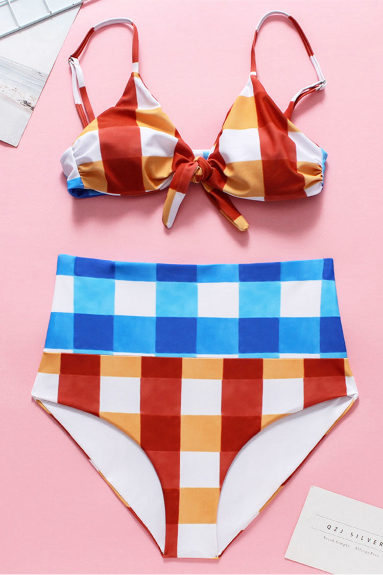 Gingham Color Block Red And Blue High Waisted Vintage Bikini Set