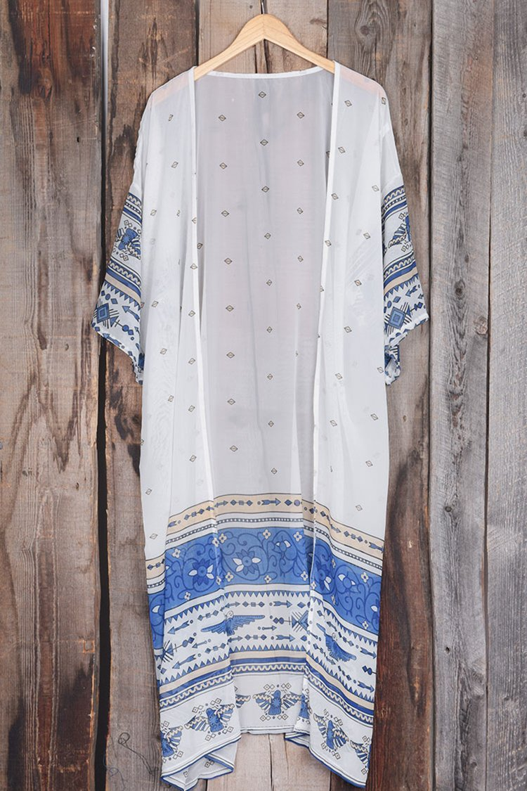 Chiffon Printed White Cover Up