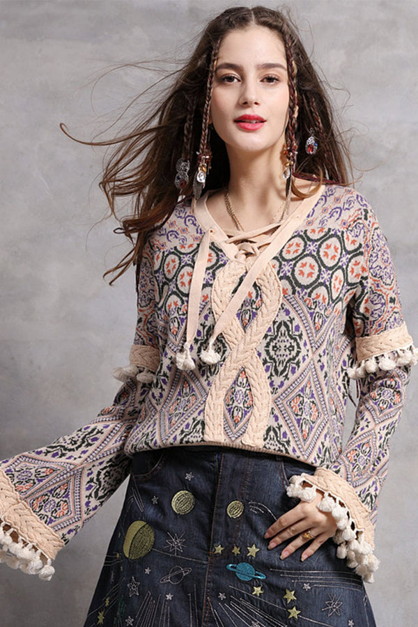 Tassel Boho Style Lace Up Wool Sweater