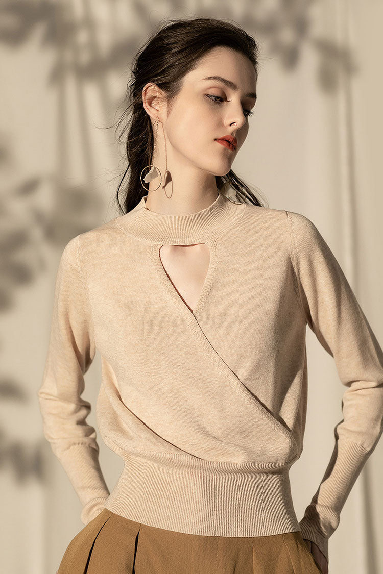 Collar Hollow Solid Sweater