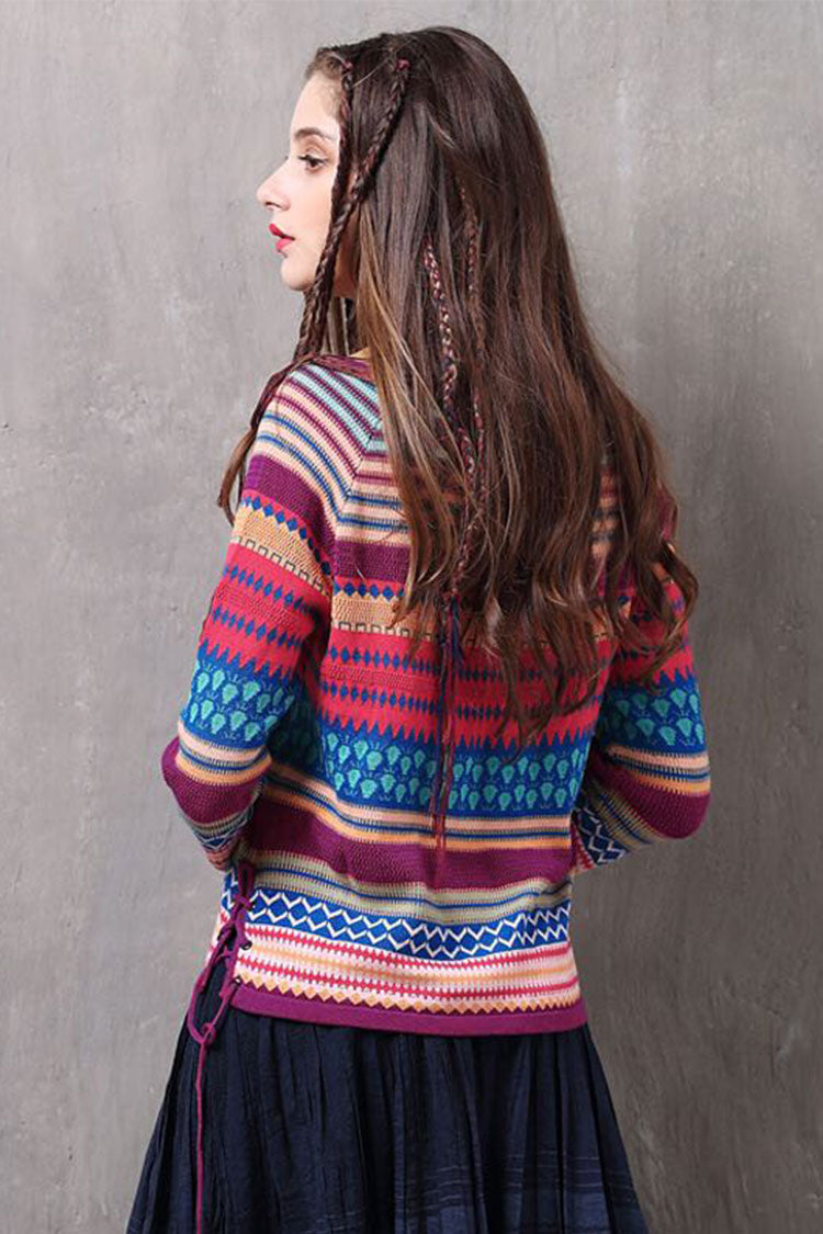 Boho Print V Neck Wool Sweater