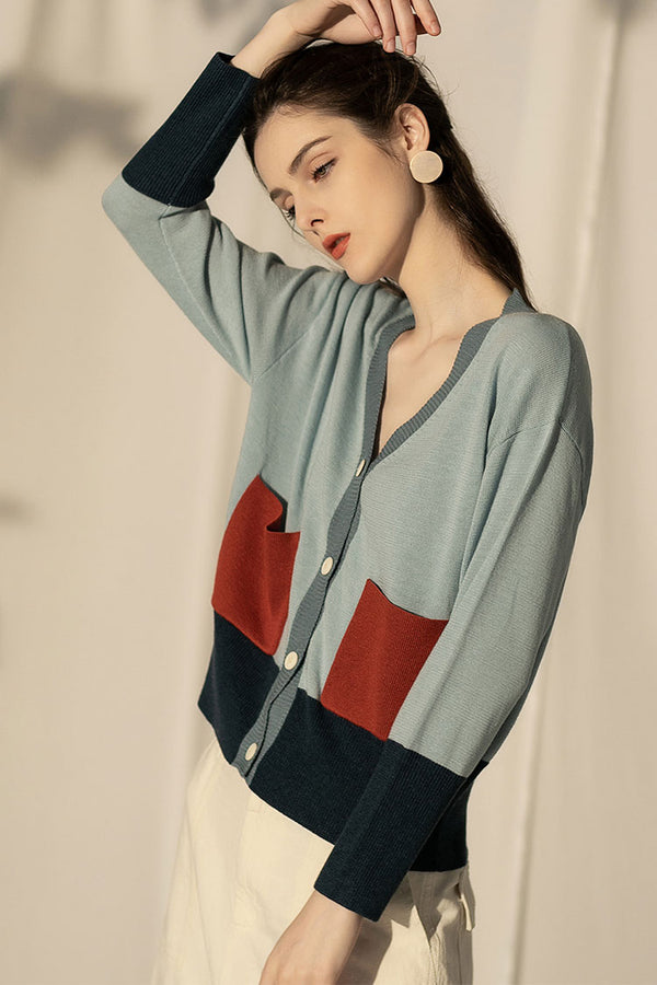 Vintage Color Blocking Button Sweater