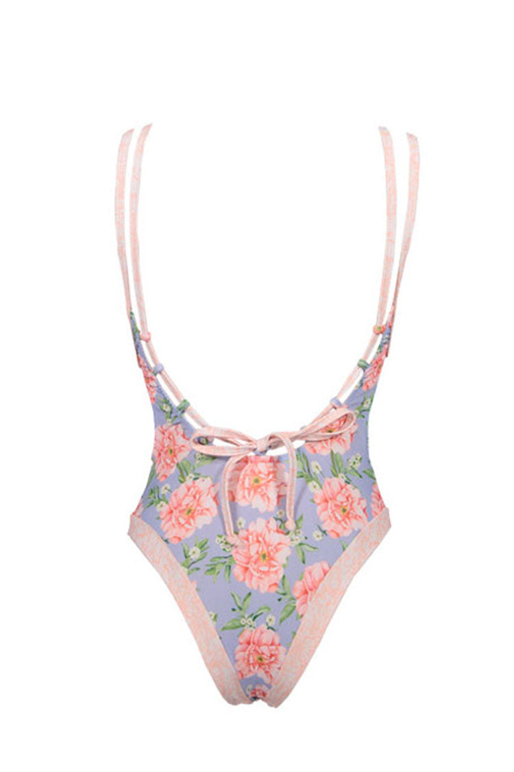 Pink And Blue Florao Print Cut Out One Piece Swimsuit