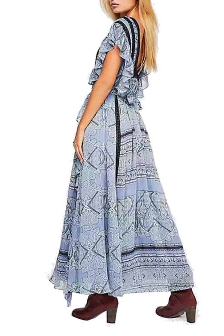 Lack Blue Ruffle Maxi Dress