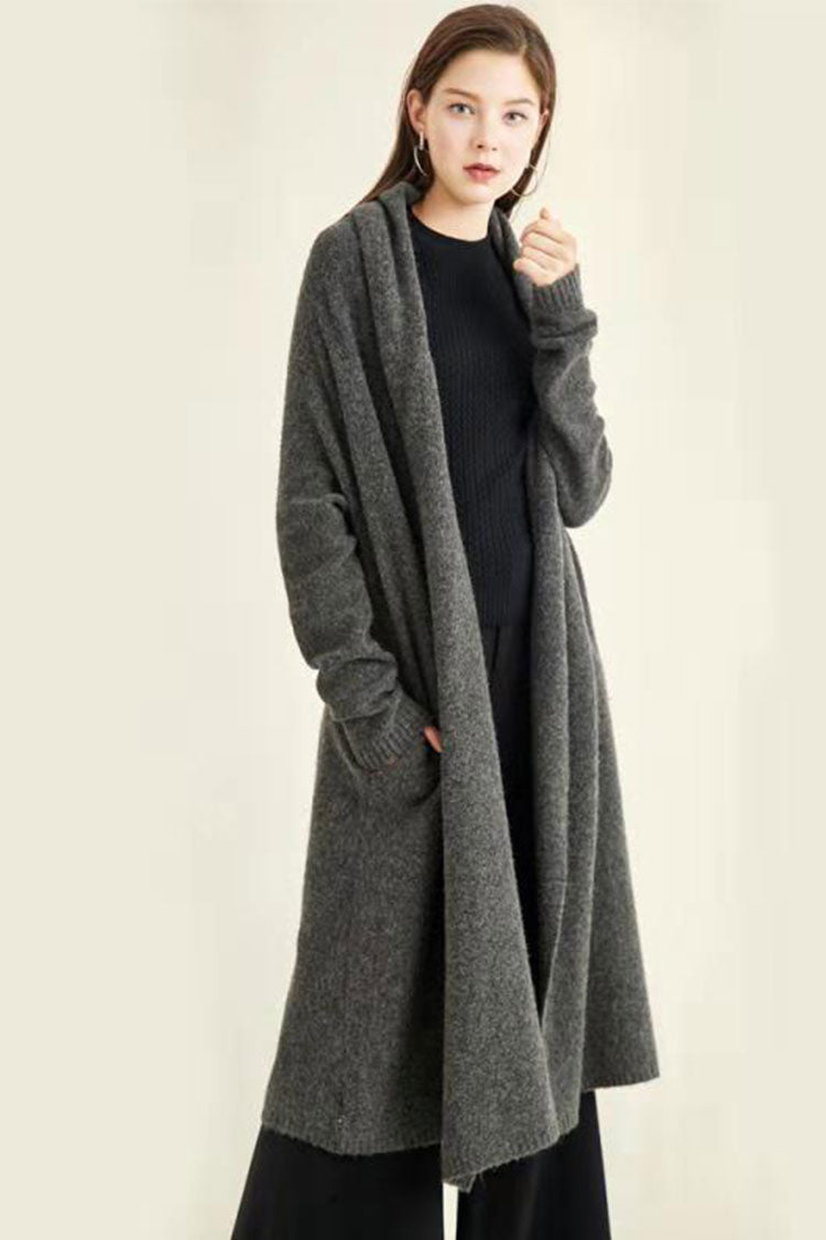 Solid Long Cardigan Sweater