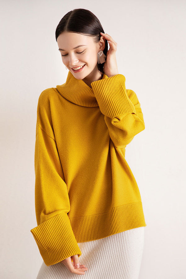 Long Cuff High Neck Sweater