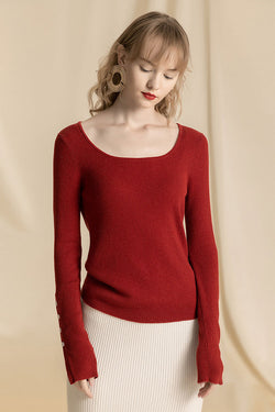 U Neck Button Cuff Sweater