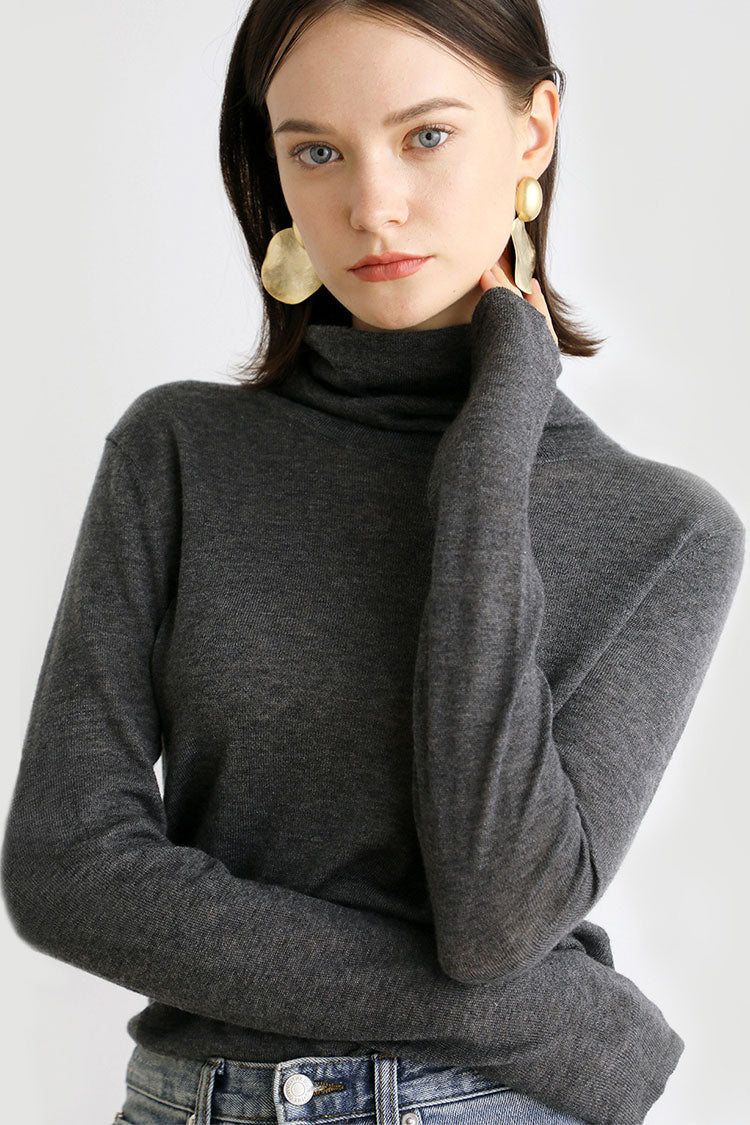Stack Collar Wool Sweater
