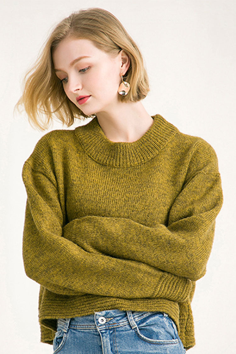 Slit Simple Solid Sweater