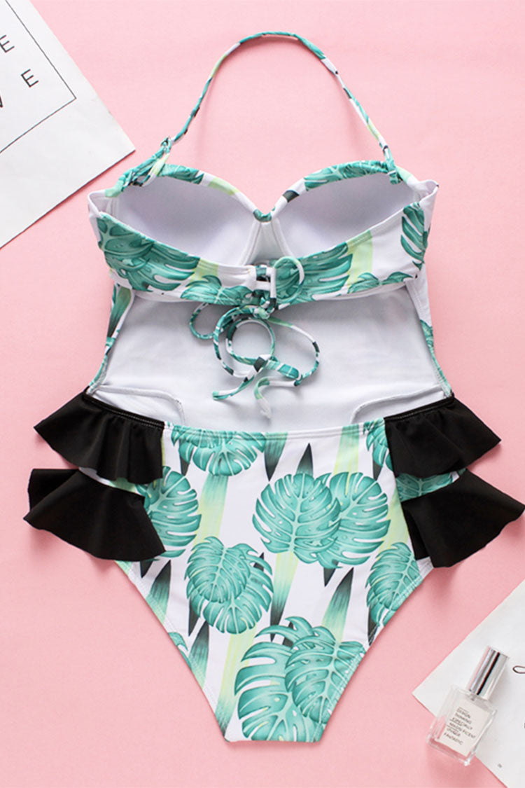 Monster Print Halter Ruffle One Piece Swimsuit