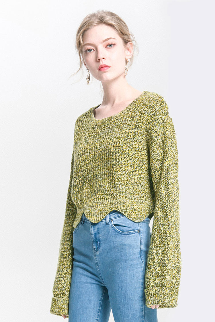 Short Wave Edge Long Cuff Sweater