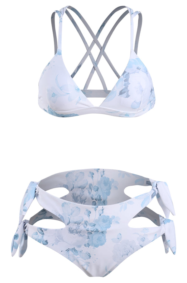 Light Blue Print Strappy Bikini Set
