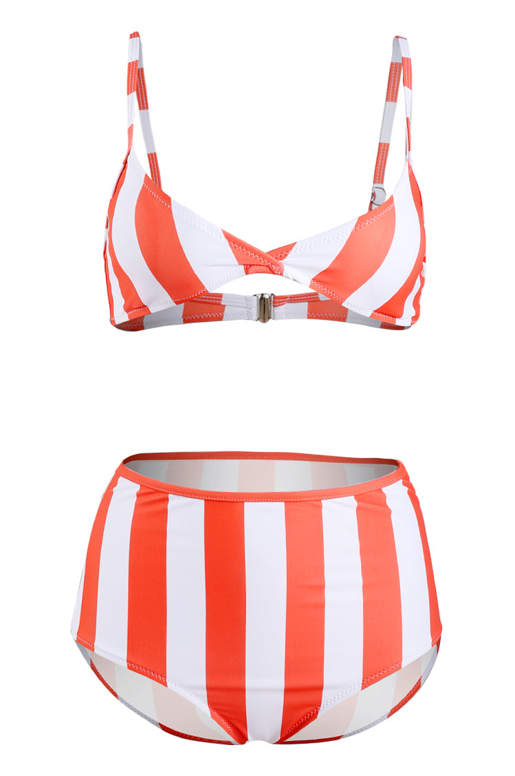 White And Red Stripe Bikini Set