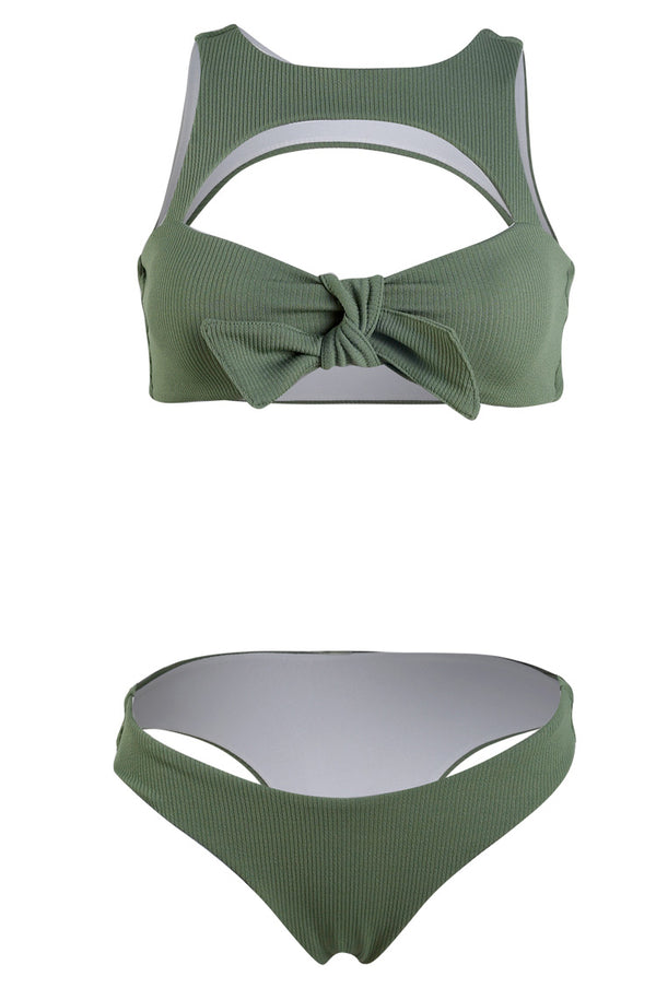 Green Cut Out Knot Bikini Set