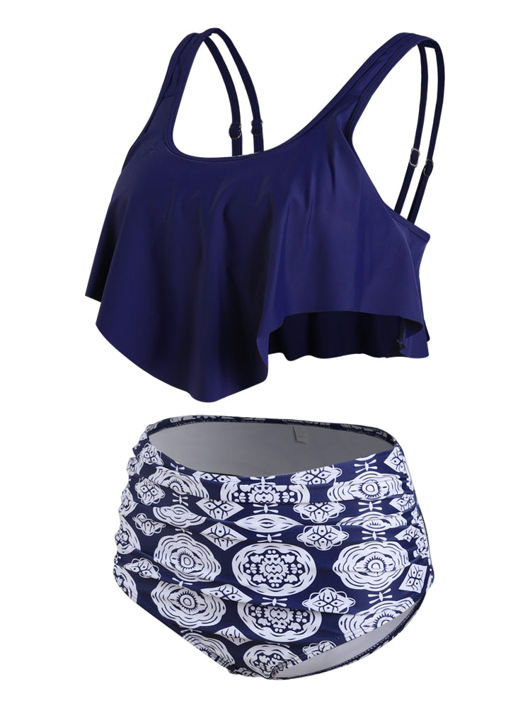 Blue Ruffled Print Bikini Set