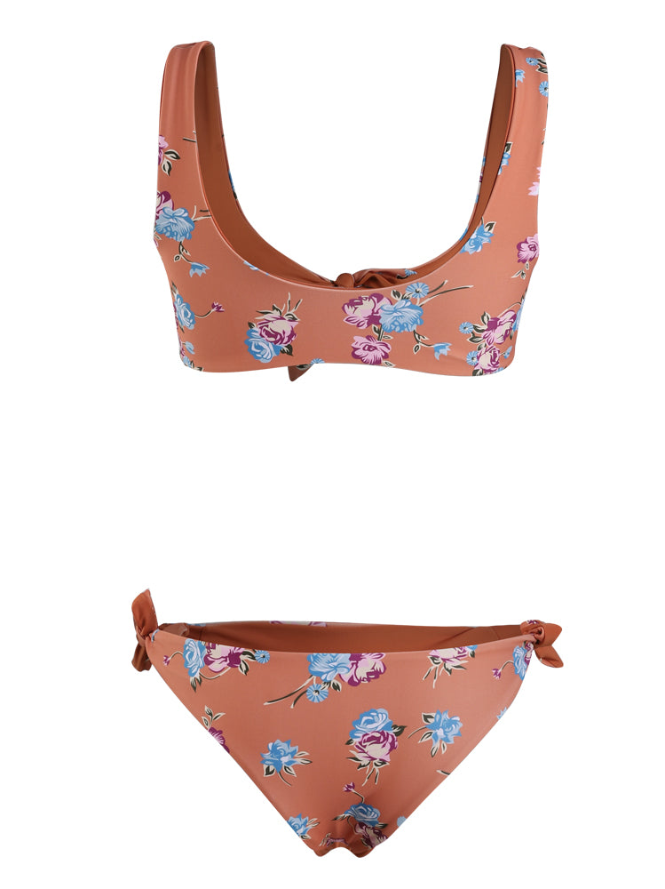 Orange Floral Knot Bikini Set