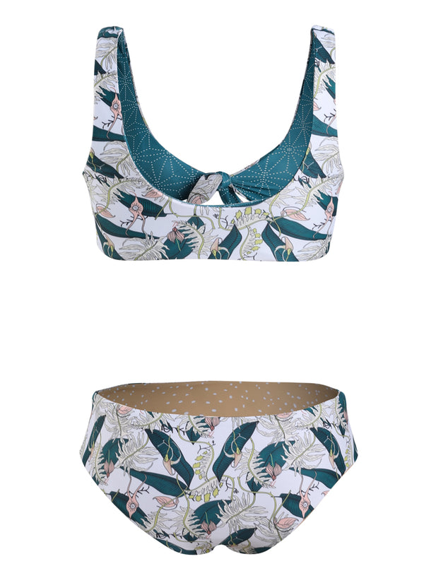 Emerald Leaves Print Bikini Set