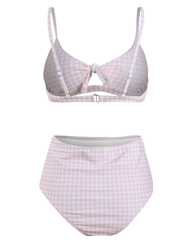 Pink And White Stripe High Waist Bikini