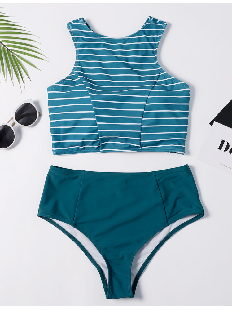 Green Stripe Cross Bikini Set