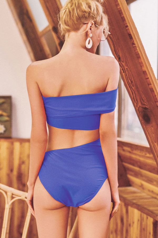 Cut Out Waist One Shoulder Sexy One Piece Swimsuit