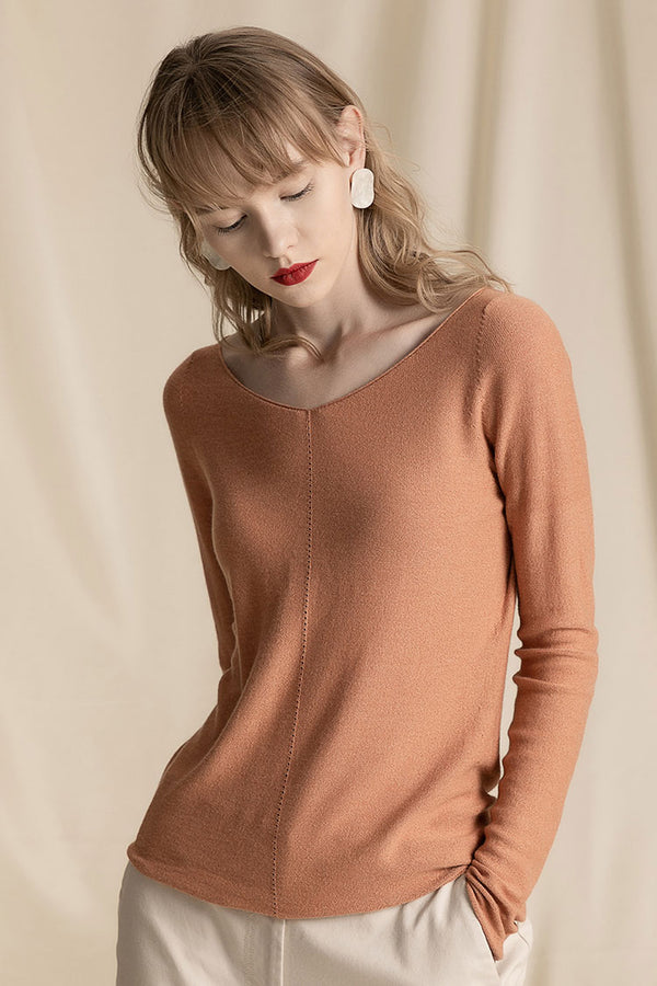 V-neck Solid Extra Fine Merino Wool Sweater