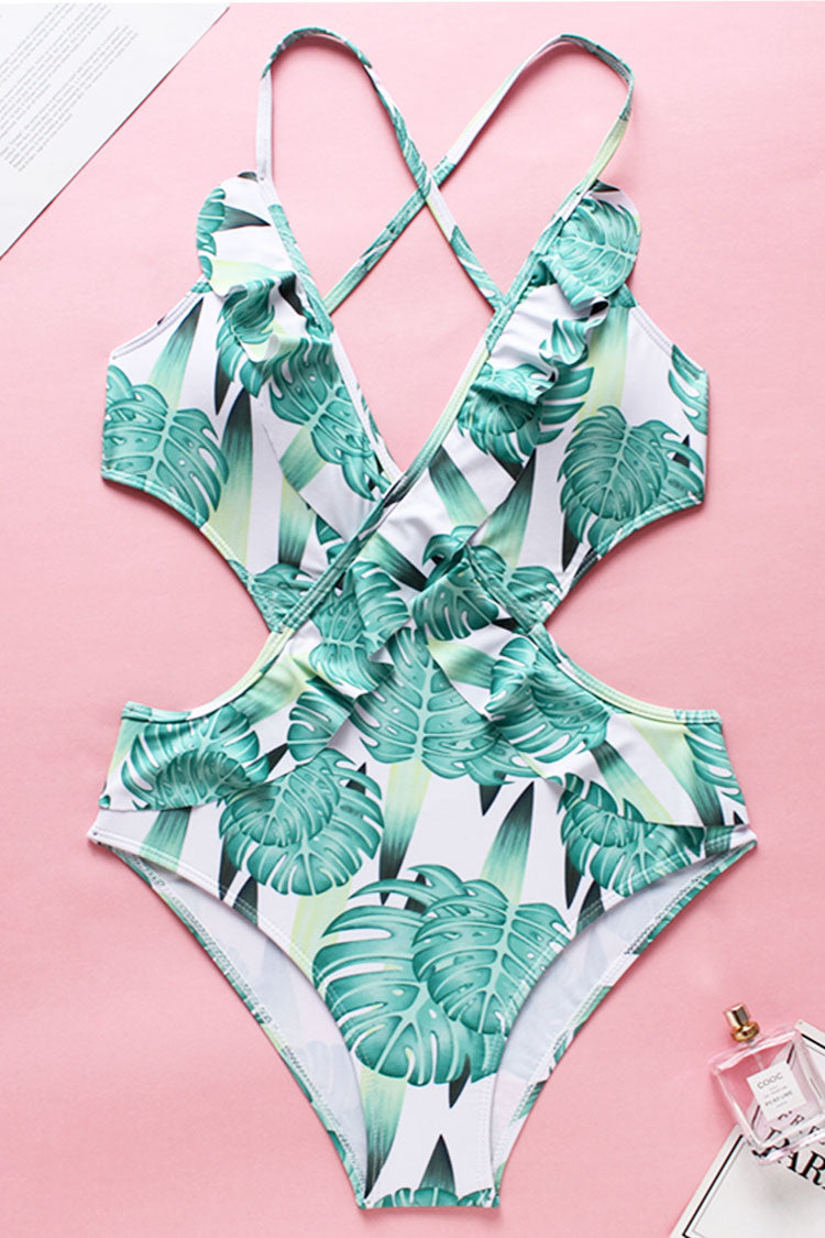 Monstera Print Ruffle Cross One Piece Swimsuit