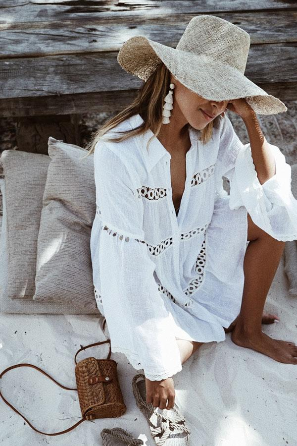 White Long-Sleeved Beach Cover Ups