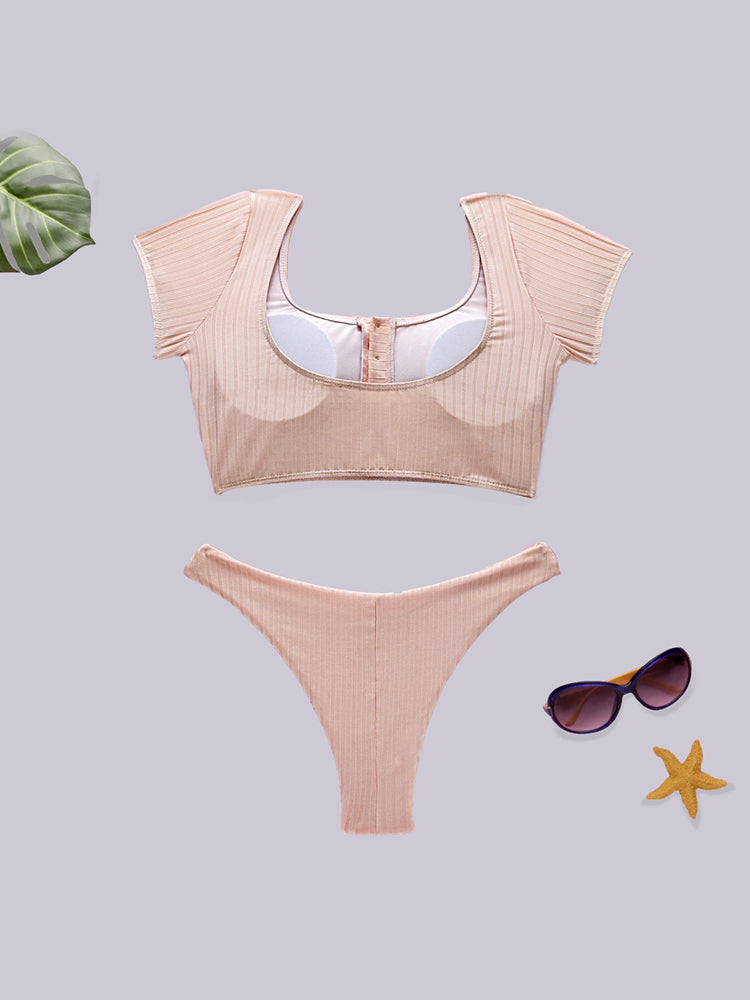 Sweet Pink Simple Bikini Set