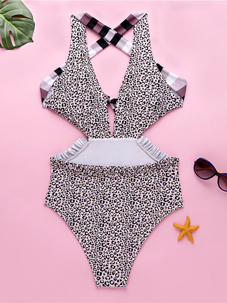 Leopard Knot One Piece Swimsuit