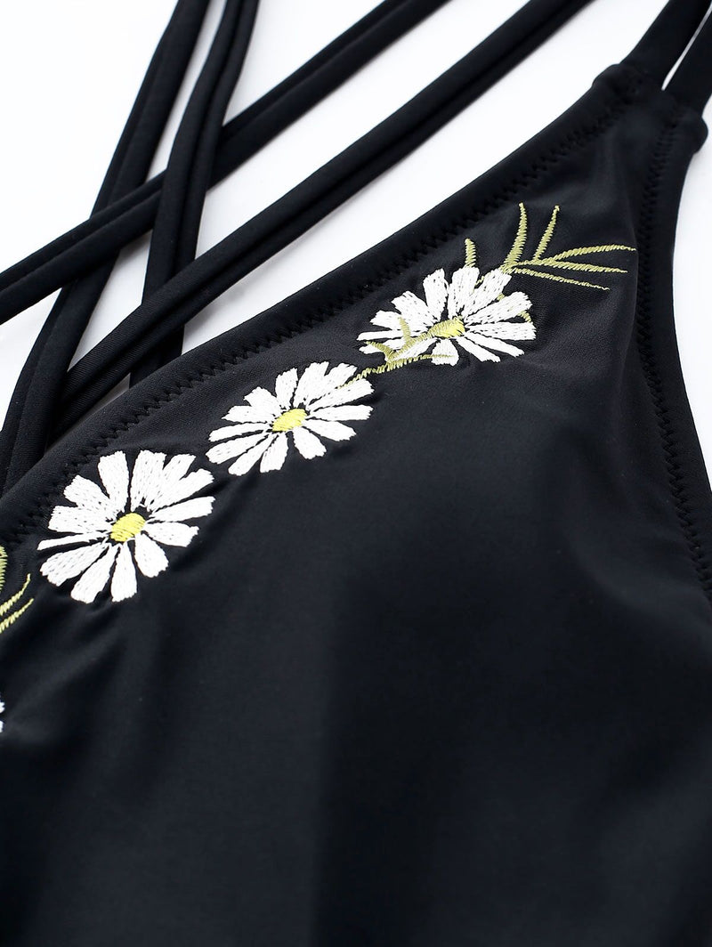 Daisy Embroidery Black One Piece Swimsuit