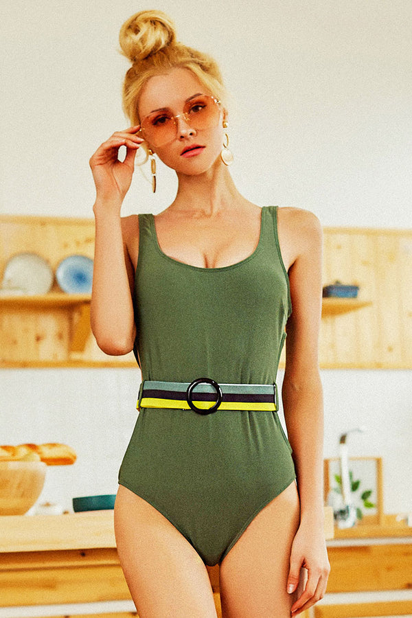 Solid Belt High Leg One Piece Swimsuit