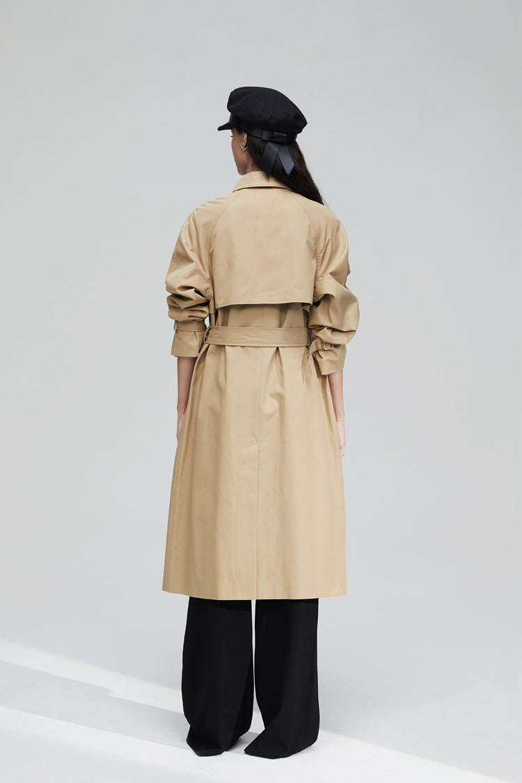 Double Breasted Button Long Length Trench Coat
