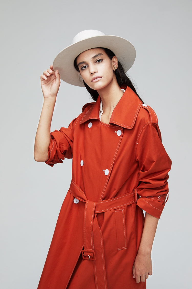 Back Split Double Breasted Button Long Length Trench Coat