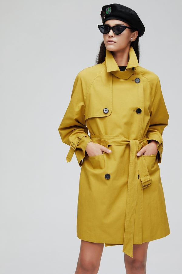 Medium Length Double Breasted Button Trench Coat