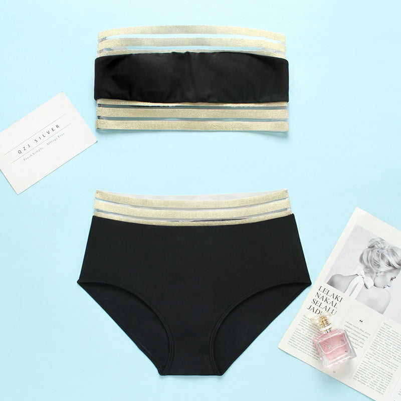Elastic Band White And Black Bandeau Bikini Set