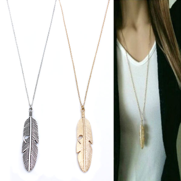Simple Classic Necklace Feather Sweater Necklace
