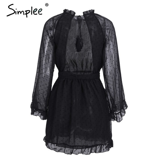 Simplee Lace up backless mesh women dress Elegant sash mini ladies autumn dress Fashion flare sleeve sexy dress vestidos festa