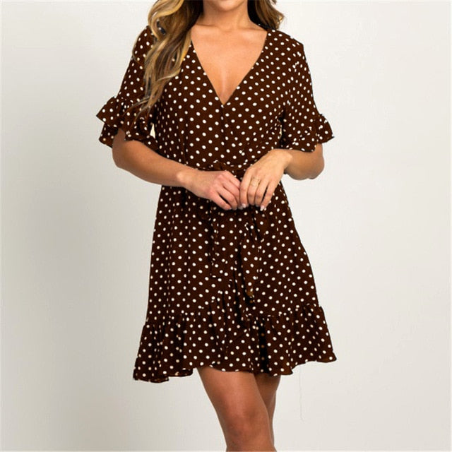 Boho V-neck Polka Dot Mini Dress