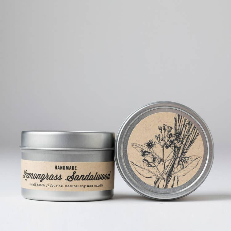 Lemongrass + Sandalwood Travel Tin Candle - Masala My Life