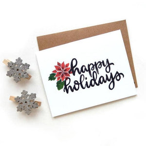 Sketchy Notions - Happy Holidays Poinsettia Card - Masala My Life